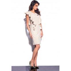 Sukienki: Elegancka sukienka z falbankami beżowy
