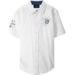Koszula z krótkim rękawem bonprix biały. Białe bluzki dziewczęce z krótkim rękawem bonprix, z nadrukiem, z klasycznym kołnierzykiem. Za 59,99 zł.