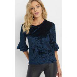 Welurowa koszulka z falbanką. Niebieskie bluzki longsleeves Orsay, xs, z dzianiny, z falbankami. Za 49,99 zł.