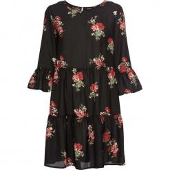 Sukienka z falbanami bonprix czarny z nadrukiem. Czarne sukienki z falbanami marki bonprix, w kwiaty. Za 89,99 zł.