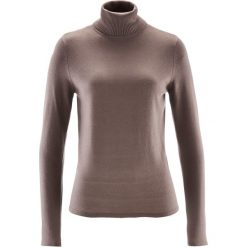 Sweter z golfem i kaszmirem bonprix brązowy. Brązowe golfy damskie marki bonprix, z kaszmiru. Za 109,99 zł.