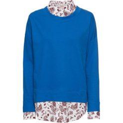 Bluza bawełniana 2 w 1 bonprix lazurowy. Niebieskie bluzy damskie bonprix, z bawełny. Za 89,99 zł.