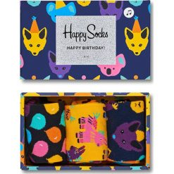 Happy Socks - Skarpety Party Animal Singing Birthday Gift Box (3-pak). Brązowe skarpetki męskie Happy Socks, z bawełny. Za 119,90 zł.