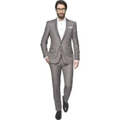Garnitur sallent 313 beż slim fit. Białe garnitury Recman, z aplikacjami, z wełny. Za 399,99 zł.
