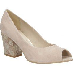 Beżowe czółenka skórzane peep toe na szerokim ozdobnym obcasie Casu CAS001. Czerwone buty ślubne damskie marki Casu, na słupku. Za 179,99 zł.