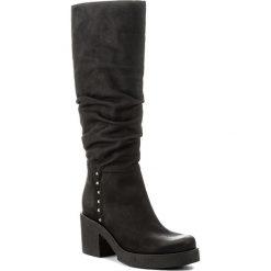 Kozaki ANN MEX - 8414 20C Czarny. Czarne buty zimowe damskie marki Kazar, ze skóry, przed kolano, na wysokim obcasie, na obcasie. W wyprzedaży za 369,00 zł.