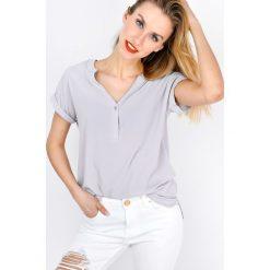 Bluzki damskie: Bluzka koszulowa z dekoltem V