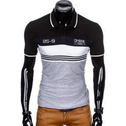 KOSZULKA MĘSKA POLO BEZ NADRUKU S913 - CZARNA. Czarne koszulki polo marki Ombre Clothing, m, z bawełny, z kapturem. Za 49,00 zł.