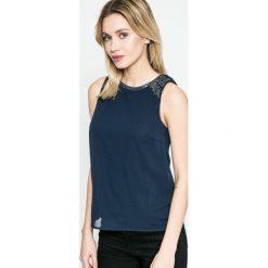 Vero Moda - Top. Niebieskie topy damskie marki Vero Moda, z bawełny. W wyprzedaży za 69,90 zł.