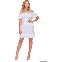 Sukienka Damska w stylu BOHO LM15. Szare sukienki boho marki Molly.pl, l, w koronkowe wzory, z koronki, z dekoltem typu hiszpanka, z krótkim rękawem, midi, dopasowane. Za 109,00 zł.