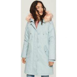 Płaszcz z pluszową podszewką - Niebieski. Niebieskie płaszcze damskie marki Sinsay, l. Za 249,99 zł.