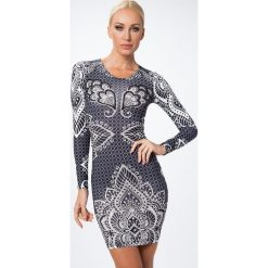 Sukienka ornamentalne wzory czarna A50356. Czarne sukienki marki Fasardi, m, z dresówki. Za 159,00 zł.