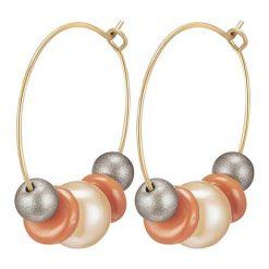 Kolczyki damskie: Pozłacane kolczyki-kreole z perłami