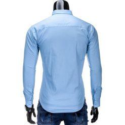 KOSZULA MĘSKA ELEGANCKA Z DŁUGIM RĘKAWEM K219 - BŁĘKITNA. Brązowe koszule męskie marki Ombre Clothing, m, z aplikacjami, z kontrastowym kołnierzykiem, z długim rękawem. Za 49,00 zł.