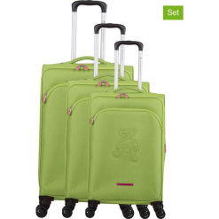"""Walizki (3 szt.) """"Teddy Bear"""" w kolorze zielonym. Zielone walizki marki Lulu Castagnette, z materiału. W wyprzedaży za 673,95 zł."""