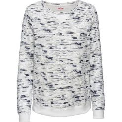 Bluza dresowa, długi rękaw bonprix biel wełny z nadrukiem. Białe bluzy rozpinane damskie bonprix, z nadrukiem, z dresówki, z długim rękawem, długie. Za 59,99 zł.