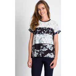 Bluzki damskie: Czarna bluzka ze wzorem na przodzie QUIOSQUE