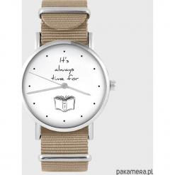 Zegarek - It is always time for... - beżowy. Brązowe zegarki damskie Pakamera. Za 129,00 zł.