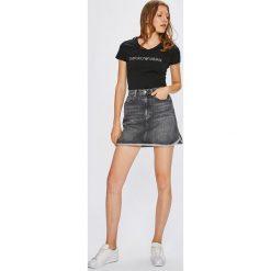 Calvin Klein Jeans - Spódnica. Szare minispódniczki marki Calvin Klein Jeans, z bawełny, z podwyższonym stanem, proste. W wyprzedaży za 279,90 zł.