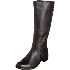 Kozaki w kolorze czarnym. Czarne buty zimowe damskie Divine Factory, ze skóry, na płaskiej podeszwie. W wyprzedaży za 108,95 zł.