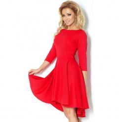 90-4 sukienka z rękawkiem 3/4 i dłuższym tyłem - czerwona. Czerwone sukienki na komunię marki numoco, l. Za 144,00 zł.