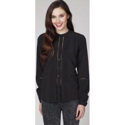 Bluzki asymetryczne: Czarna Elegancka Bluzka Koszulowa z Ażurowymi Wstawkami