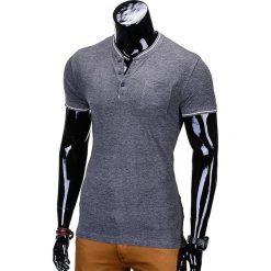 T-SHIRT MĘSKI BEZ NADRUKU S667 - GRAFITOWY. Szare t-shirty męskie z nadrukiem Ombre Clothing, m, z bawełny, ze stójką. Za 24,99 zł.