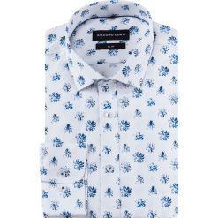 Koszula SIMONE slim KDWS000484. Białe koszule męskie jeansowe marki Giacomo Conti, m, w kwiaty, z włoskim kołnierzykiem. Za 169,00 zł.