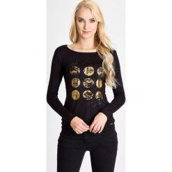 Bluzki asymetryczne: Czarna bluzka z metalicznym nadrukiem QUIOSQUE