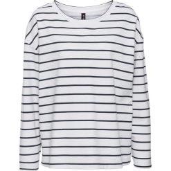 Bluza dresowa w paski bonprix biało-ciemnoniebieski w paski. Białe bluzy damskie bonprix, w paski, z dresówki. Za 59,99 zł.