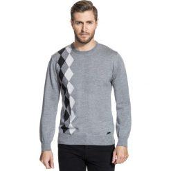 Sweter PIETRO SWP000077. Brązowe swetry klasyczne męskie Giacomo Conti, m, w geometryczne wzory, z wełny. Za 259,00 zł.