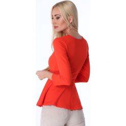 Bluzka z baskinką czerwona 1680. Czerwone bluzki z odkrytymi ramionami marki bonprix. Za 49,00 zł.