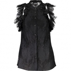 Bluzka w kolorze czarnym. Czarne bluzki damskie marki Just Cavalli, Calvin Klein, Lee, ze stójką. W wyprzedaży za 879,95 zł.