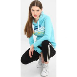 Bluzy damskie: Superdry VINTAGE LOGO SPLICE ENTRY HOOD Bluza z kapturem aquamarine snowy