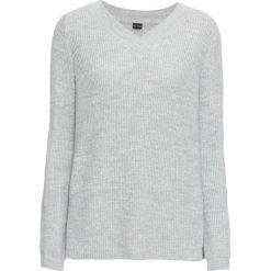 Sweter z dekoltem w serek bonprix jasnoszary melanż. Szare swetry klasyczne damskie bonprix, z dekoltem w serek. Za 109,99 zł.