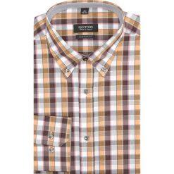 Koszule męskie na spinki: koszula carral 1751 długi rękaw custom fit brąz
