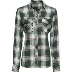 Bluzki damskie: Bluzka koszulowa z ćwiekami bonprix oliwkowy w kratę