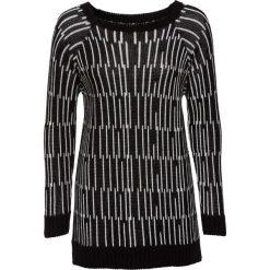 Swetry klasyczne damskie: Długi sweter bonprix czarno-biały