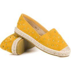 Espadryle damskie: Pikowane zamszowe espadryle COURA odcienie żółtego i złota