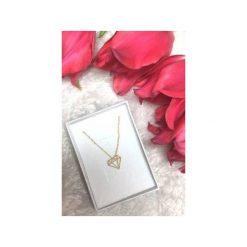 Naszyjniki damskie: Srebrny pozłacany naszyjnik diament