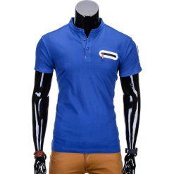 T-SHIRT MĘSKI BEZ NADRUKU S665 - NIEBIESKI. Niebieskie t-shirty męskie z nadrukiem Ombre Clothing, m, z bawełny, ze stójką. Za 35,00 zł.