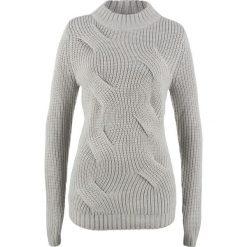 Sweter  w warkocze bonprix jasnoszary melanż. Szare swetry klasyczne damskie bonprix. Za 69,99 zł.