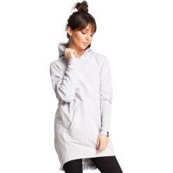 KAIA Bluza tunika z kapturem i gumką z tyłu - popielata. Szare bluzy rozpinane damskie BE, l, z kapturem. Za 154,90 zł.