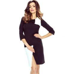 Sukienki asymetryczne: DARIA – dwukolorowa sukienka czarny