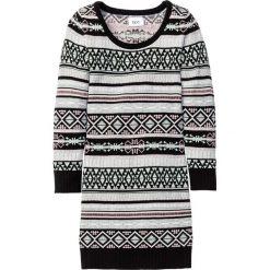 Sukienki dziewczęce: Sukienka dzianinowa bonprix czarno-miętowy wzorzysty