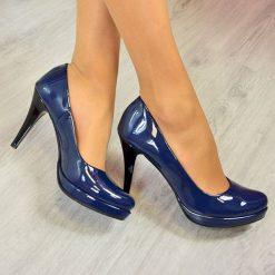 Buty ślubne damskie: Granatowe lakierowane czółenka szpilki na platformie Monique