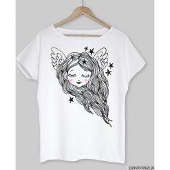 Bluzki, topy, tuniki: ANIOŁEK koszulka bawełniana biała z nadrukiem