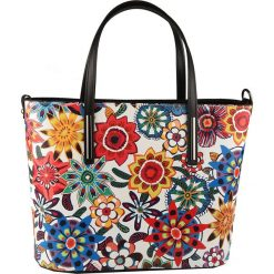 Torebki klasyczne damskie: Skórzana torebka w kolorze białym ze wzorem – 35 x 25 x 8 cm