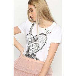 T-shirty damskie: Biały T-shirt Fancy Back