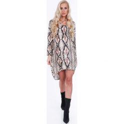 Beżowa sukienka w motywy zwierzęce oversize 1968. Brązowe sukienki Fasardi, l, oversize. Za 79,00 zł.